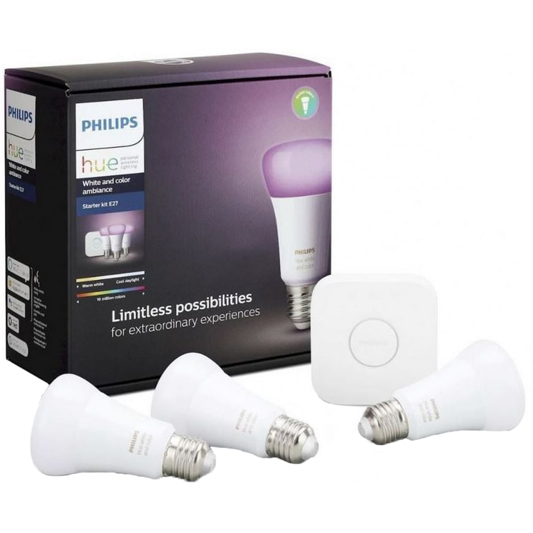 Fotografie Pachet 3 becuri inteligente LED RGBW Philips Hue, Bluetooth/ZigBee, E27, 9W, 806 lm, lumina alba/color, compatibil cu Amazon Alexa si Google Assistant + Bridge