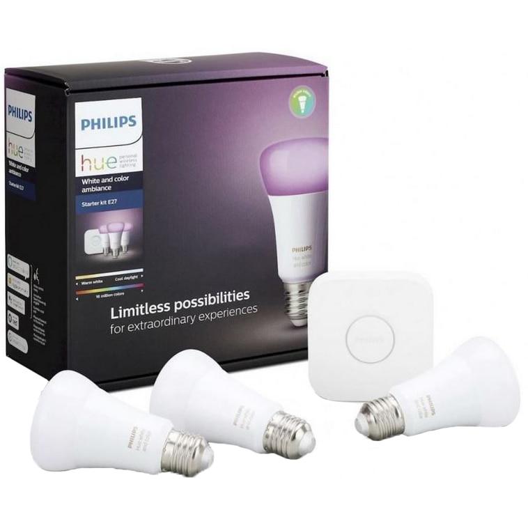 Fotografie Pachet 3 becuri inteligente LED RGBW Philips Hue, Bluetooth/ZigBee, E27, 9W, 806 lm, lumina alba/color, compatibil cu Amazon Alexa si Google Assistant + Bridge
