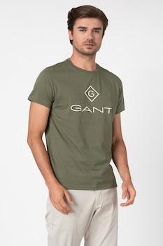 Gant, Kerek nyakú logómintás póló r, Zöld, S