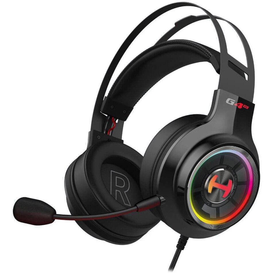 Fotografie Casti gaming Edifier G4 TE , iluminare RGB, surround virtual 7.1, butoane control pe fir, microfon omnidirectional detasabil, USB, Negru