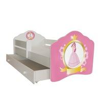 """Gyerekágy fiókkal, , védőkorlát , modell FALA , """"hercegnő"""" 144x78x58, matrac"""