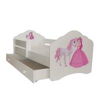 """Gyerekágy fiókkal, , védőkorlát , modell FALA , """"hercegnő és a ló"""" 164x88x63, matrac"""
