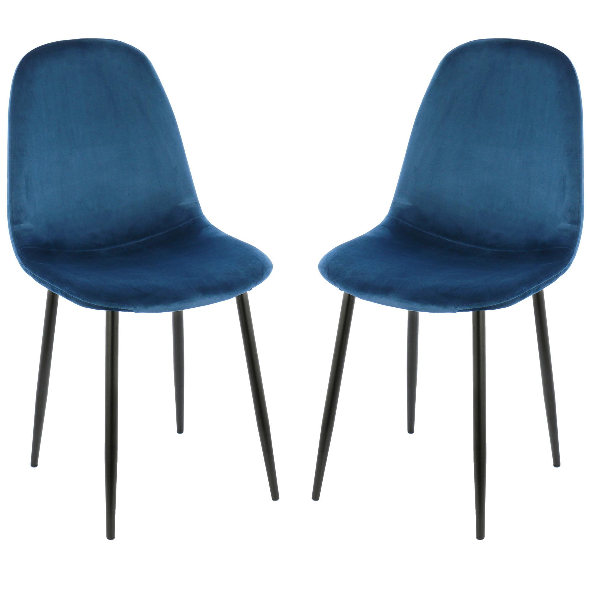 Fotografie Set 2 scaune dining / bucatarie Kring Miles, material textil, Albastru