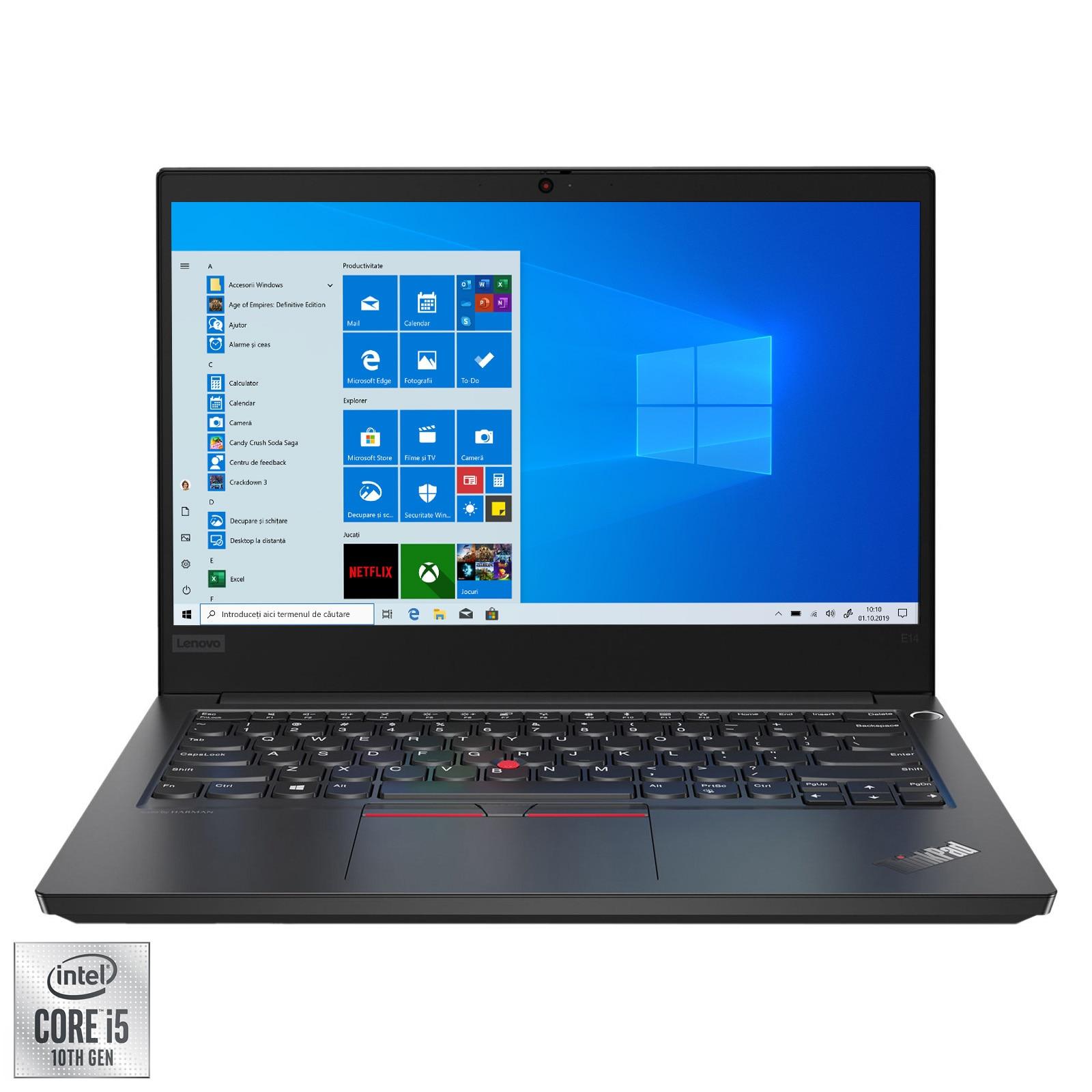"Fotografie Laptop ultraportabil Lenovo ThinkPad E14 cu procesor Intel Core i5-10210U pana la 4.20 GHz. 14"", Full HD, 8GB, 256GB SSD, Intel UHD Graphics 620, Windows 10 Pro, Black"