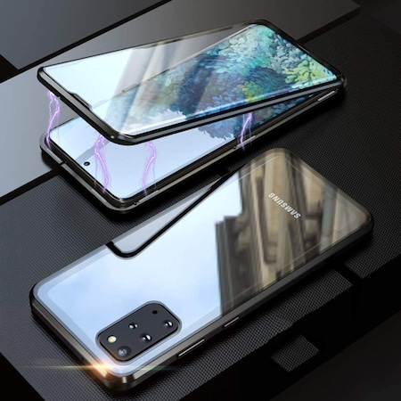 Husa Magnetic Glass 360° (sticla fata + spate) pentru Samsung Galaxy S20 Plus, Negru