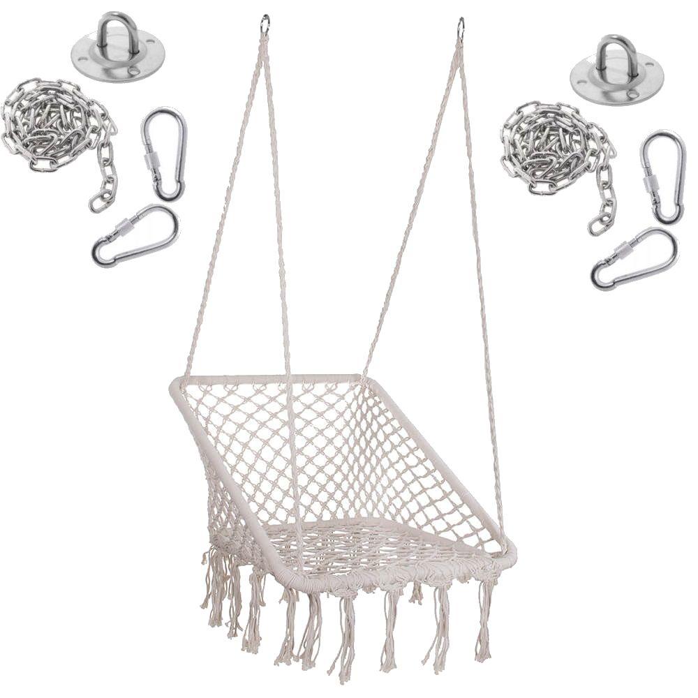 Springos függőszék rojtokkal, négyzet alakú, maximális támogatott súly 150 kg, bézs szín + mennyezeti szerelőrendszer függőágyakhoz eMAG.hu
