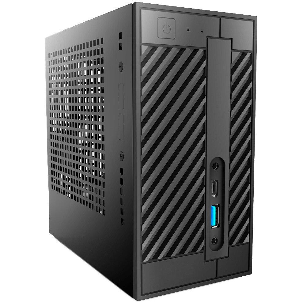 Fotografie Mini PC Barebone ASRock DeskMini A300, AMD AM4, 2x DDR4 64GB max, M.2 SSD, HDD 2.5 inch, HDMI, DisplayPort