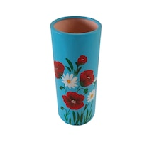 Vaza/Suport flori din ceramica, tub, pictata manual, 24 x 10 cm, motiv floral, multicolor
