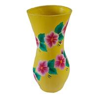 Suport decorativ/vaza flori din ceramica, lucrata manual, 30 x 12 cm, motiv floral, multicolor