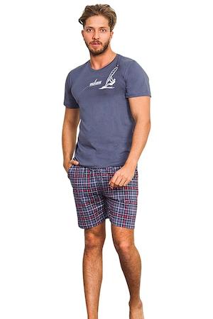 Pijama Barbati, Gazzaz by Vienetta, Model 'Wind Surfing', Culoare Gri, Marime M
