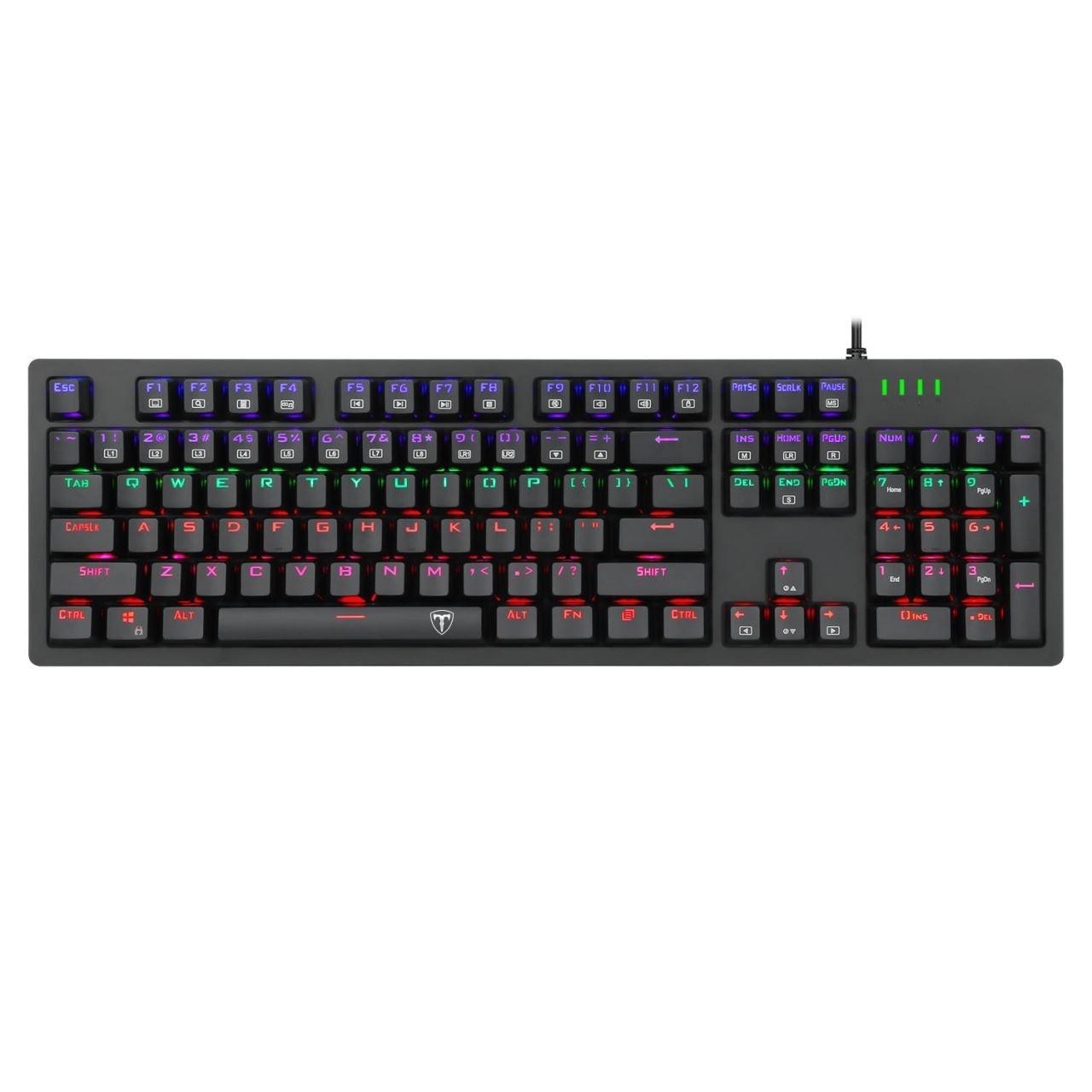 Fotografie Tastatura gaming mecanica T-Dagger Bermuda, Iluminare RGB, switch-uri albastre Outemu, Negru