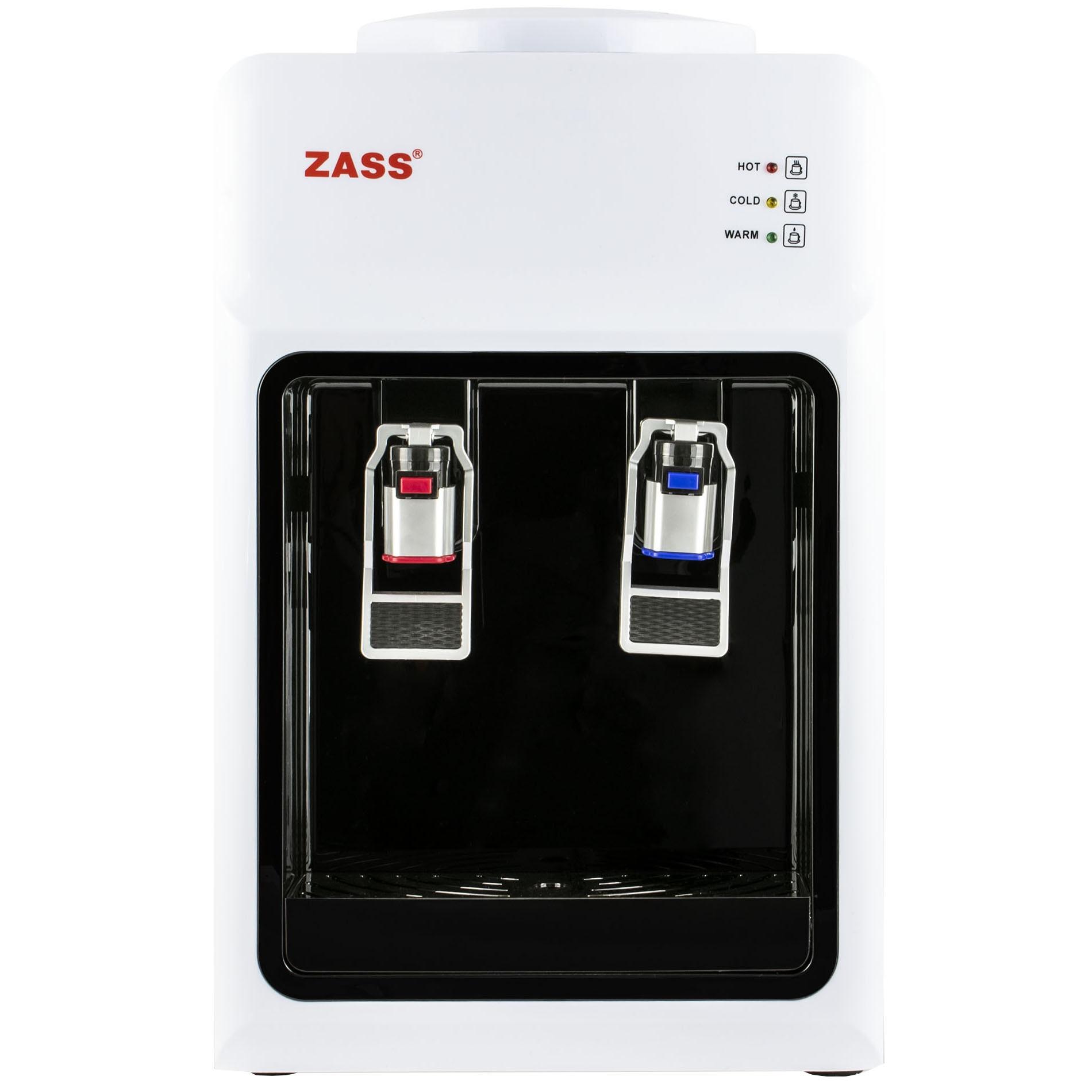 Fotografie Dozator apa de birou, Zass ZTWD 13C cu compresor, Putere incalzire 550W, putere racire 90W, Protectie copii la robinetul de apa fierbinte, functional cu bidoane de apa 11 l si 19 l, Alb