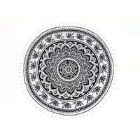 Плажна кърпа JMB Черно и бяло, Кръгла, Памук, 150 cm