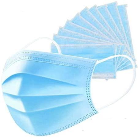 Cutie 50 masti, de unica folosinta , 3 straturi,albastru
