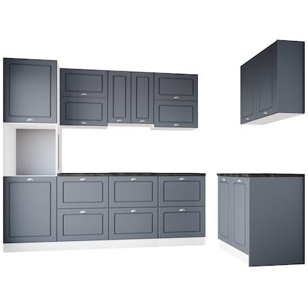 Комплект кухненски мебели Irim Gordon, 320x60x223 см, MDF, 9 модула, Цвят Матов цимент/Бял