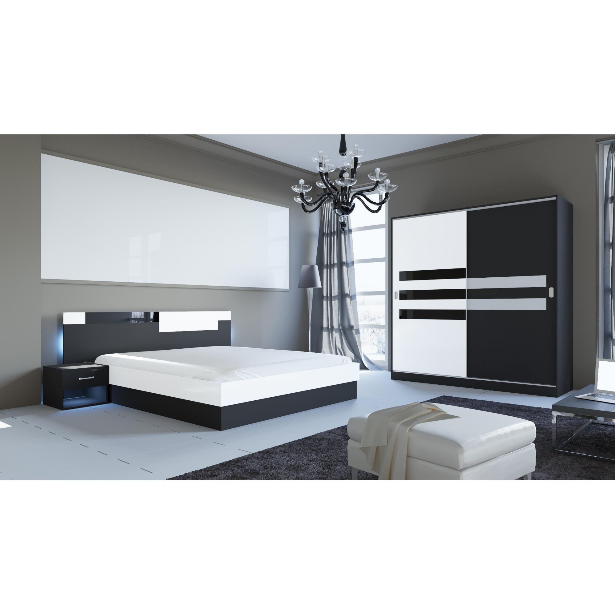 Fotografie Dormitor Irim Klara, Pat 160x200 cm, Dulap usi glisante 180x59,5x191 cm, 2 Noptiere, Alb/Negru