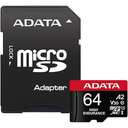 Карта памет ADATA Endurance, MicroSDXC, 64GB, UHS-I V30, 100MB/s, Class 10 + Адаптер