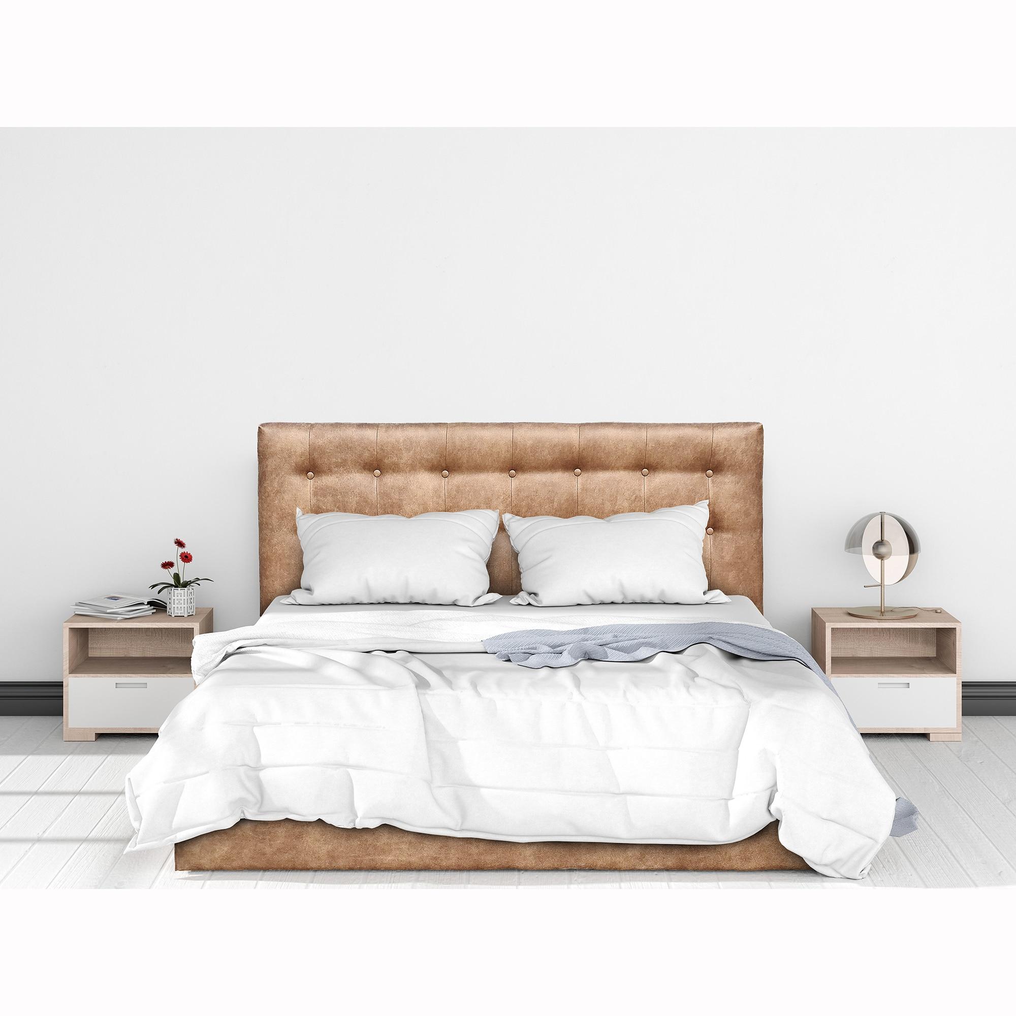 Fotografie Pat Kring Sensation, 212x172x105 suprafata dormit 160x200 cm, lada depozitare, stofa culoare maro