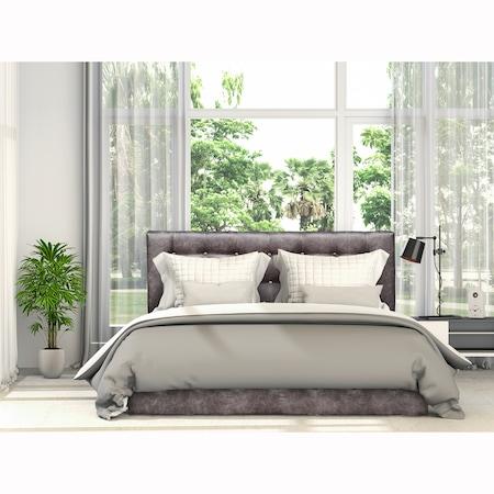 Pat Kring Sensation, 212x172x105 suprafata dormit 160x200 cm, lada depozitare, stofa culoare gri inchis