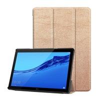 Gigapack Bőr hatású tok, Huawei Mediapad T5 10 LTE, álló, FLIP, oldalra nyíló, TRIFOLD asztali tartó funkció, Rozéarany