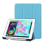 Gigapack Bőr hatású tok, Apple iPad 9.7 (2017) , álló, aktív flip, oldalra nyíló, TRIFOLD asztali tartó funkció, Apple Pencil tartó, Világoskék