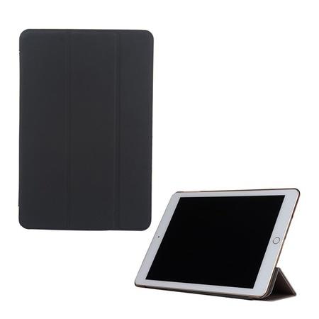Gigapack Bőr hatású tok, Apple iPad 9.7 (2017) , álló, aktív flip, oldalra nyíló, TRIFOLD asztali tartó funkció, Fekete