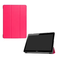 Gigapack Bőr hatású tok, Huawei Mediapad T3 10 LTE, álló, FLIP, oldalra nyíló, TRIFOLD asztali tartó funkció, Rózsaszín