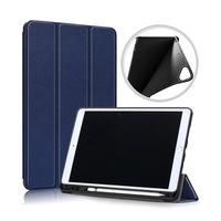 Gigapack Bőr hatású tok, Apple iPad 10.2 (2019), álló, aktív flip, oldalra nyíló, TRIFOLD asztali tartó funkció, Sötétkék