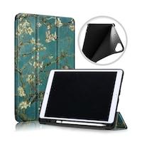 Gigapack Bőr hatású tok, Apple iPad 10.2 (2019), álló, FLIP, oldalra nyíló, TRIFOLD asztali tartó funkció, virág minta, Zöld