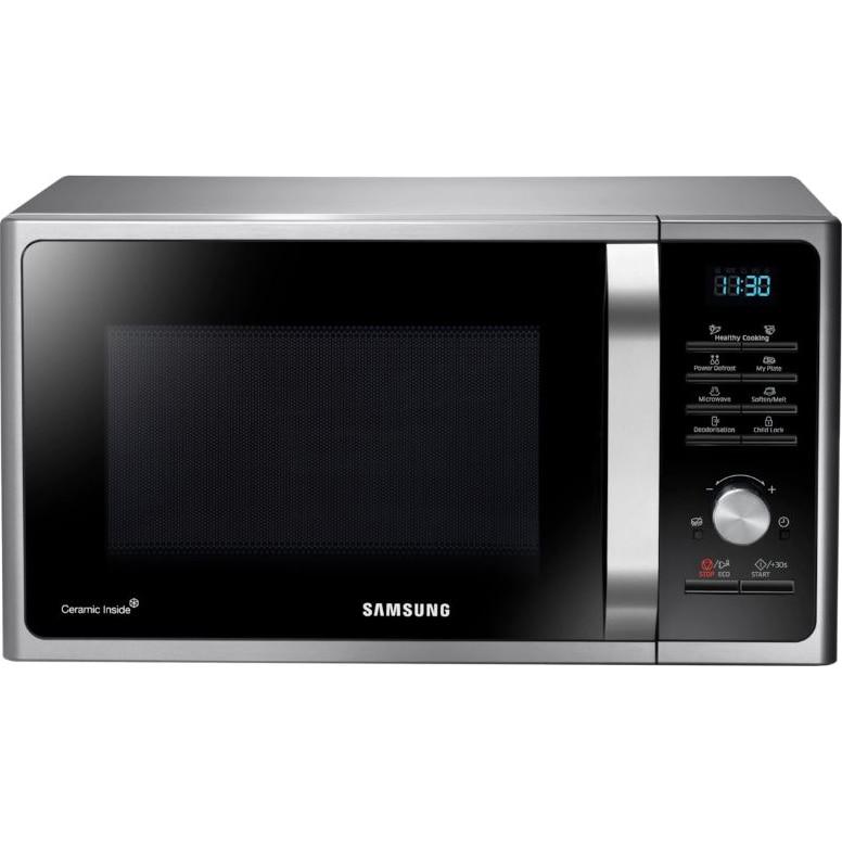 Fotografie Cuptor cu microunde Samsung MS28F303TAS/OL, 28 l, 1000W, Display, Control digital, Interior ceramic, Argintiu