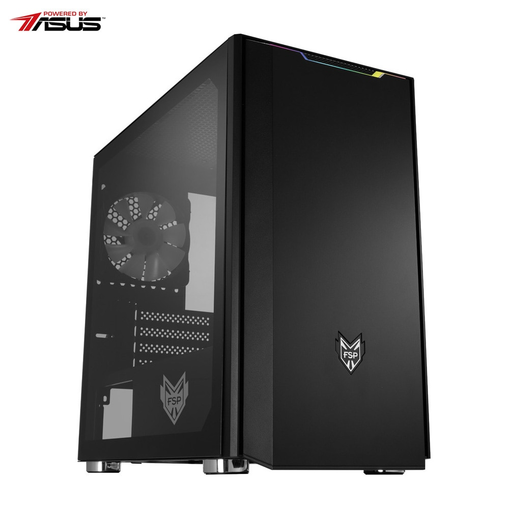 Fotografie Sistem Desktop PC Gaming Serioux Powered by ASUS cu procesor AMD Ryzen™ 5 2600 pana la 3.90GHz, 8GB DDR4, 500GB SSD, GeForce® GTX 1650 4GB GDDR5