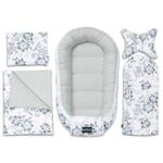 5 darabos készlet Bellochi babakosár, vászon, matrac és baba párna, virágok, fehér / szürke, Moon Berry