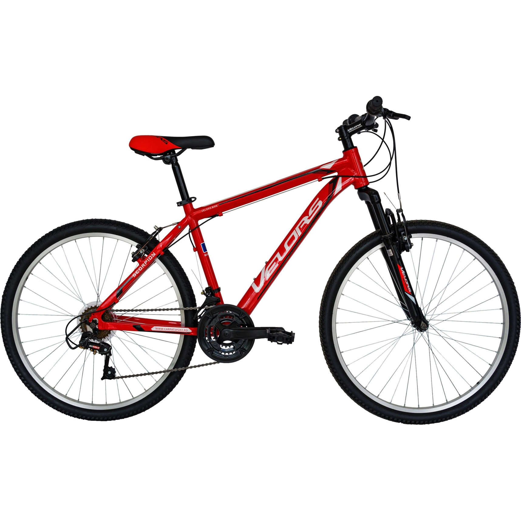 Fotografie Bicicleta de munte 26 inch Veolors V2671A, cadru hardtail aluminiu, sistem de franare V-Brake, 18 viteze, Rosu/Alb