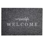 Kring Welcome Lábtörlő-beléptető szőnyeg, 100% poliészter, 60x40 cm, Sötétszürke