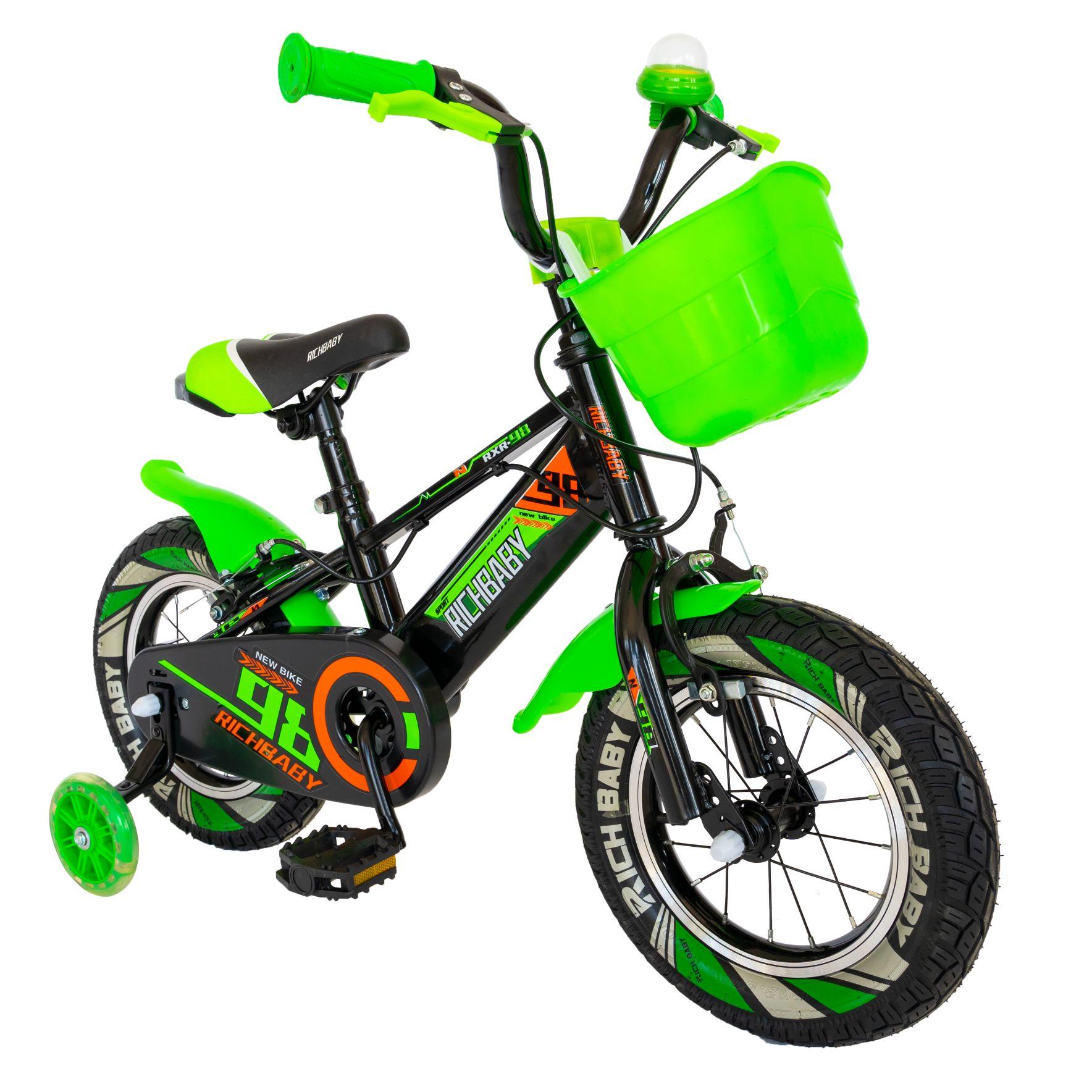 """Fotografie Bicicleta copii 16"""" Rich R1607A , pentru baieti,negru/ verde"""