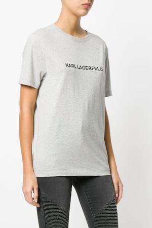 Karl Lagerfeld, Tricou cu decolteu la baza gatului si imprimeu logo, Gri deschis melange