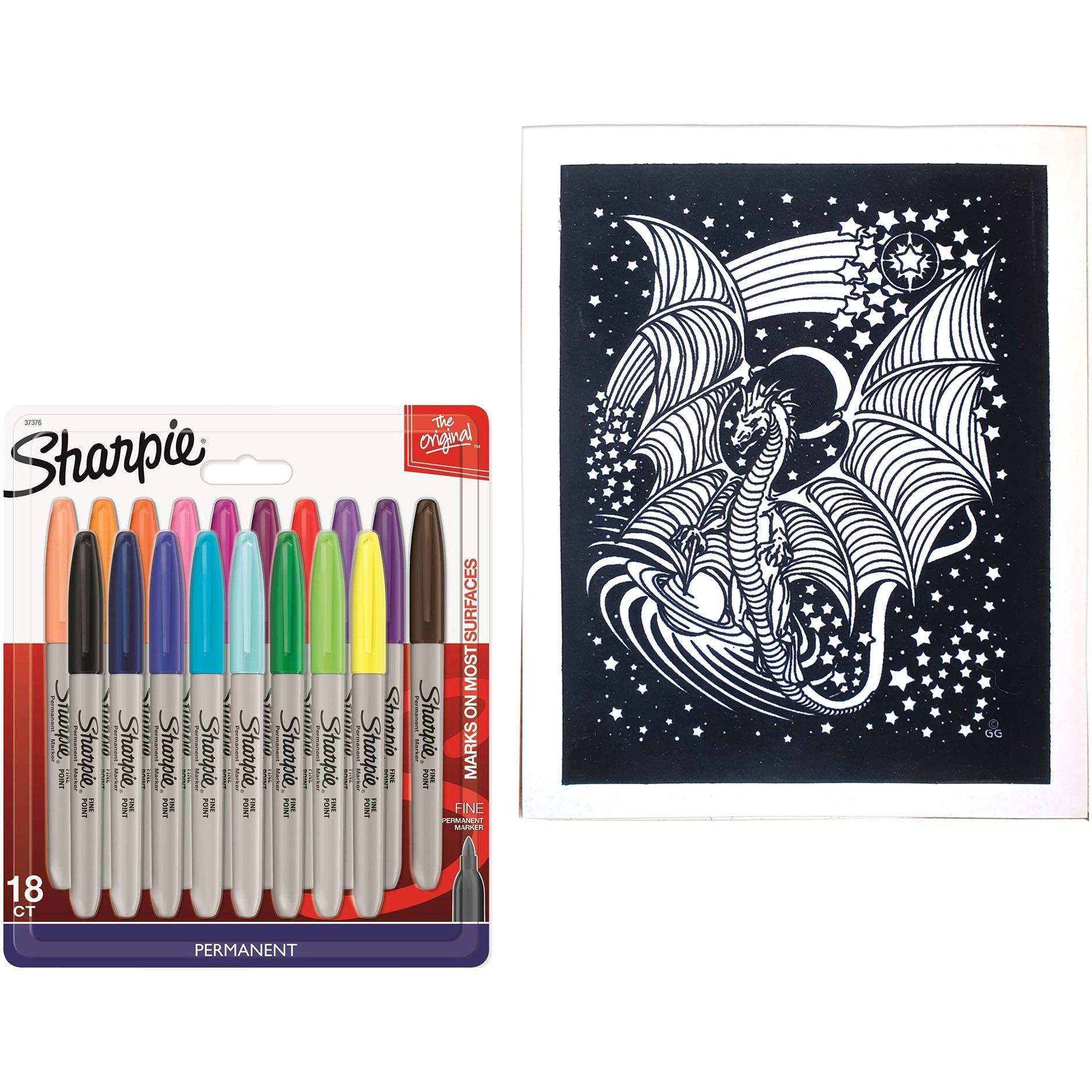 Set 18 Markere Permanente Sharpie F Plansa De Colorat A4 Diverse Modele Gratis Emag Ro