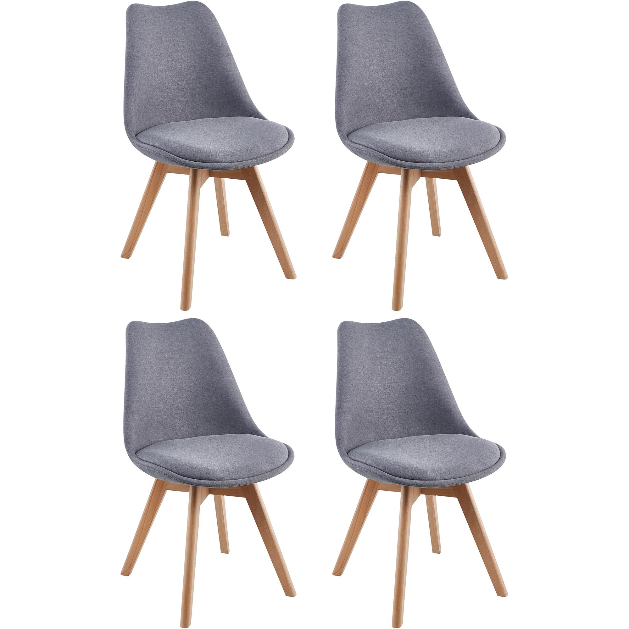 Fotografie Set 4 scaune Kring Malmo, material textil, Gri petrol