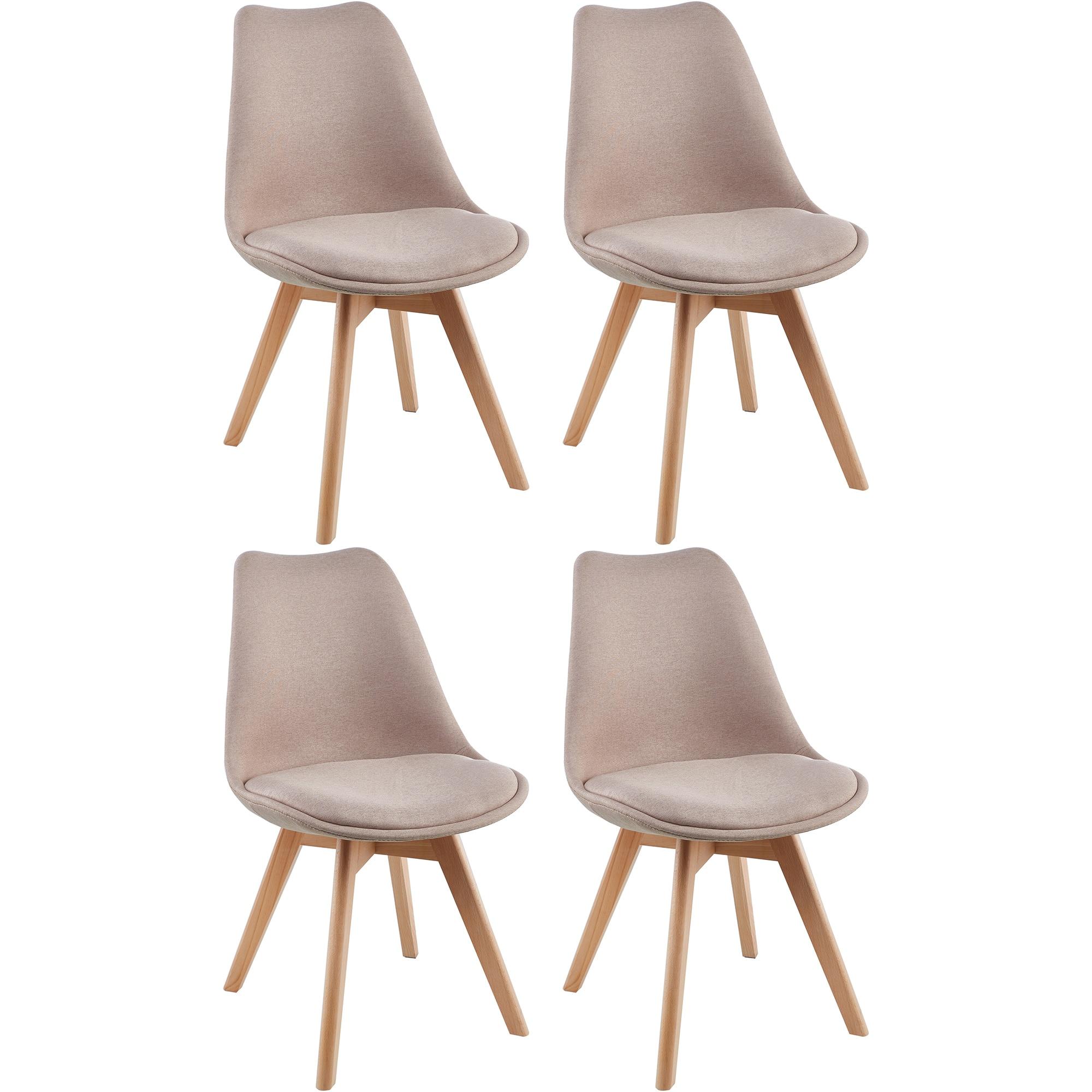 Fotografie Set 4 scaune Kring Malmo, material textil, Bej