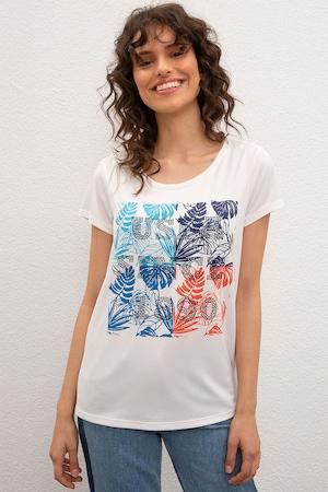 U.S. Polo Assn., Tricou decorat cu strasuri, Alb/Albastru/Oranj