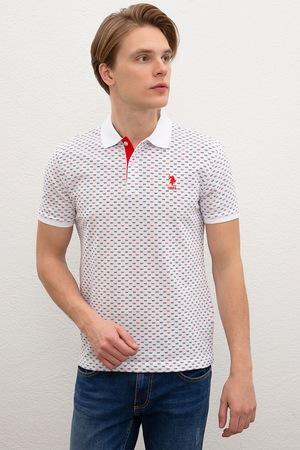 U.S. Polo Assn., Tricou polo slim fit cu model geometric, Alb/Bleumarin/Rosu vermilion