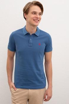U.S. Polo Assn., Szűk fazonú piké galléros pamutpóló, Kék/Piros