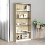 vidaXL 5-szintes fehér és sonoma forgácslap könyvszekrény / polc 80x24x175 cm