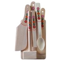 Set 6 piese din lemn, Artizanat Ilsaf, Ustensile de bucatarie, 35x16x6 cm