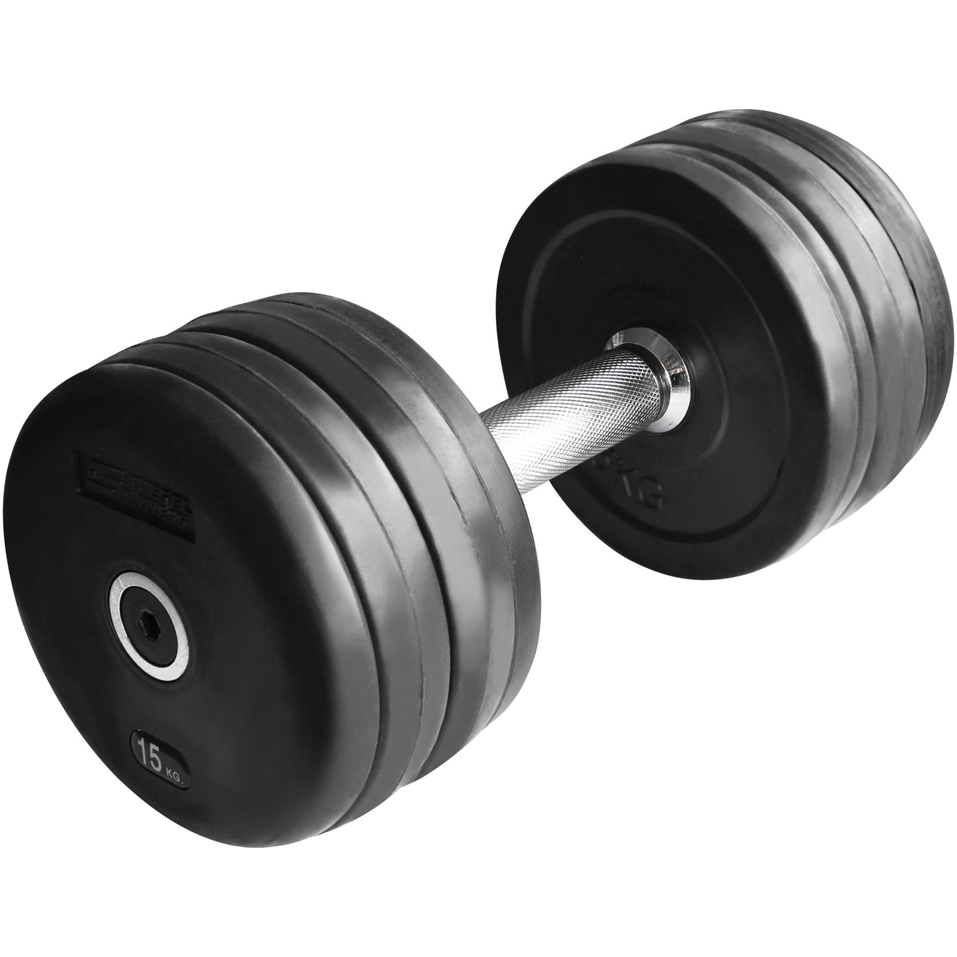 Fotografie Gantera fitness Kondition, coating cauciuc, 15 kg, Negru
