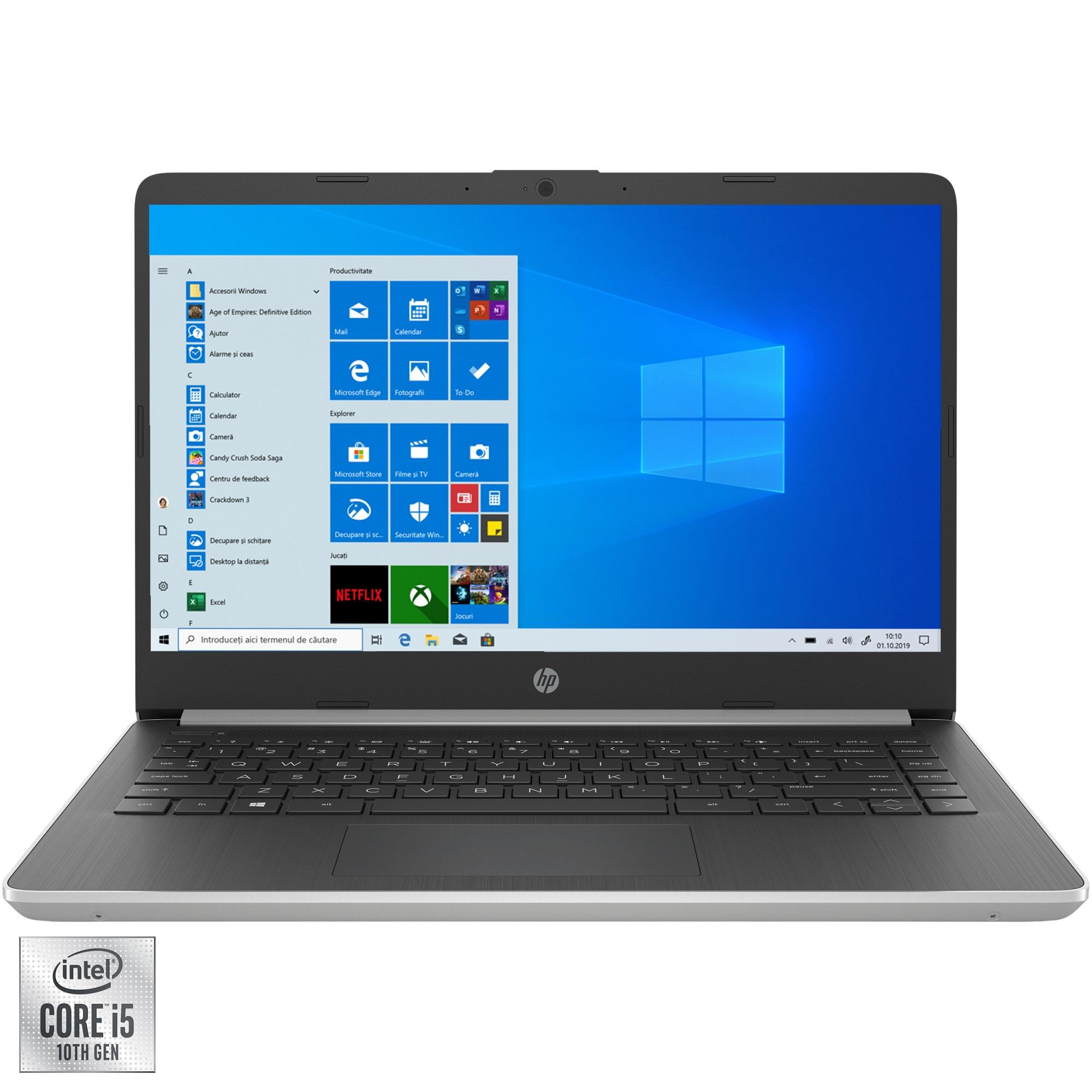 "Fotografie Laptop ultraportabil HP 14s-dq1032nq cu procesor Intel® Core™ i5-1035G1 pana la 3.60 GHz, 14"", Full HD, 8GB, 512GB SSD, Intel® UHD Graphics, Windows 10 Home, Natural silver"