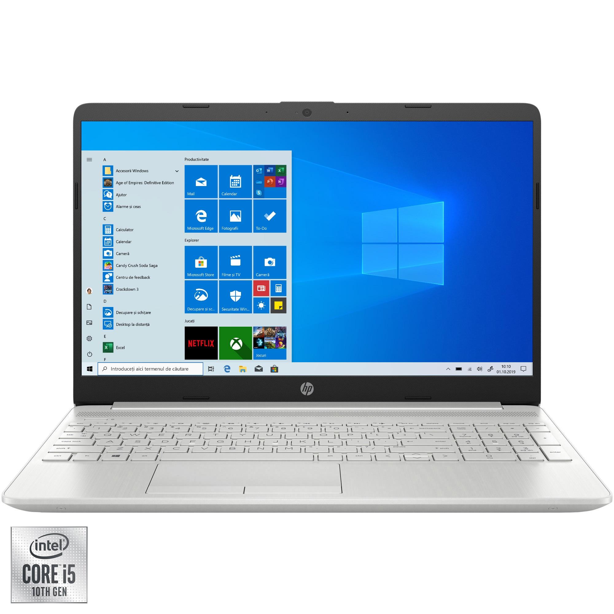 """Fotografie Laptop HP 15-dw2010nq cu procesor Intel Core i5-1035G1 pana la 3.60 GHz, 15.6"""", Full HD, 8GB, 512GB SSD, NVIDIA GeForce MX330 2GB, Windows 10 Home S, Silver"""