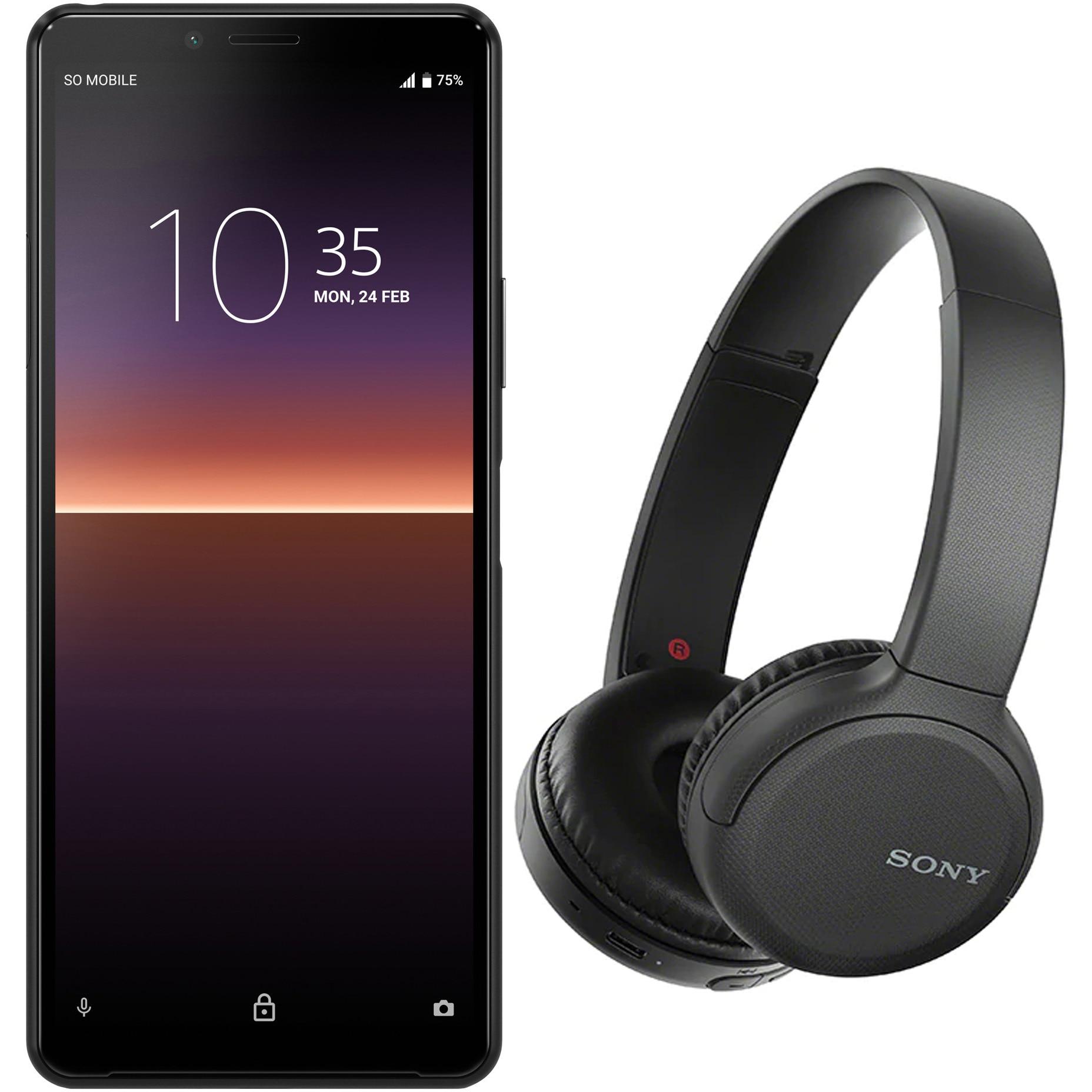 Fotografie Telefon mobil Sony Xperia 10 II, Dual SIM, 128GB, 4G, Black + Casti wireless Sony WH-CH510