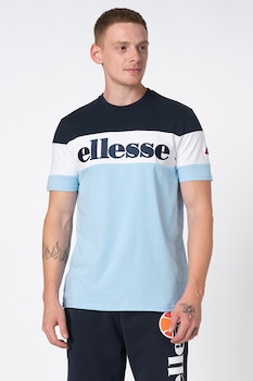 ELLESSE, Punto csíkos póló hímzett logóval, Kék/Fehér, S
