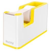 LEITZ Ragasztószalag-adagoló, asztali, feltöltött, Wow, fehér-sárga